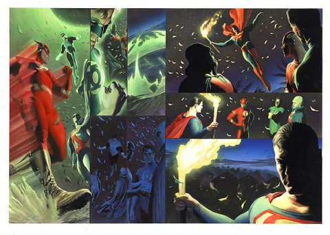 JLA: Liberty And Justice pages 78-79 by Alex Ross.  Source.