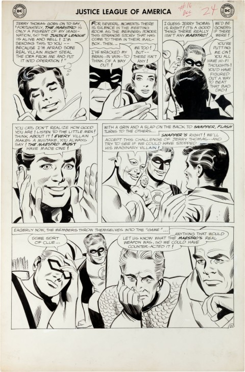 Justice League Of America issue 16 page 20 by Mike Sekowsky and Bernard Sachs.  Source.