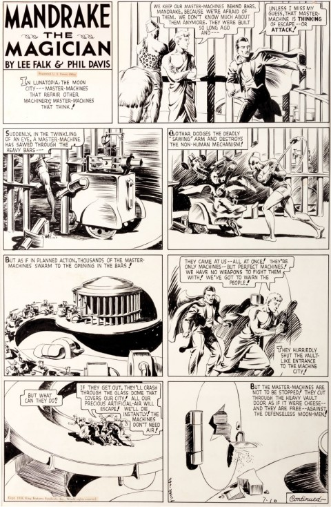 Mandrake the Magician Sunday 7-10-38 by Phil Davis.  Source.