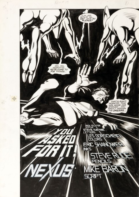 Nexus issue 15 splash by Steve Rude.  Source.
