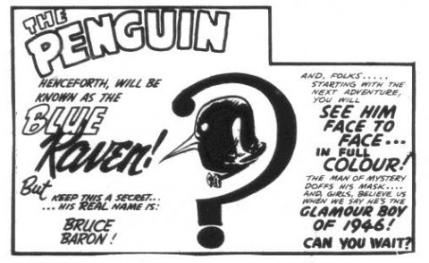 The last panel of the Penguin story from the last issue of Wow Comics No. 30