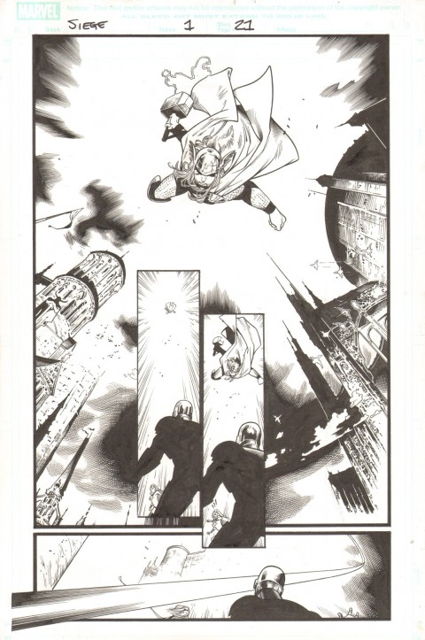 Siege issue 1 page 21 by Olivier Coipel and Mark Morales.  Source.