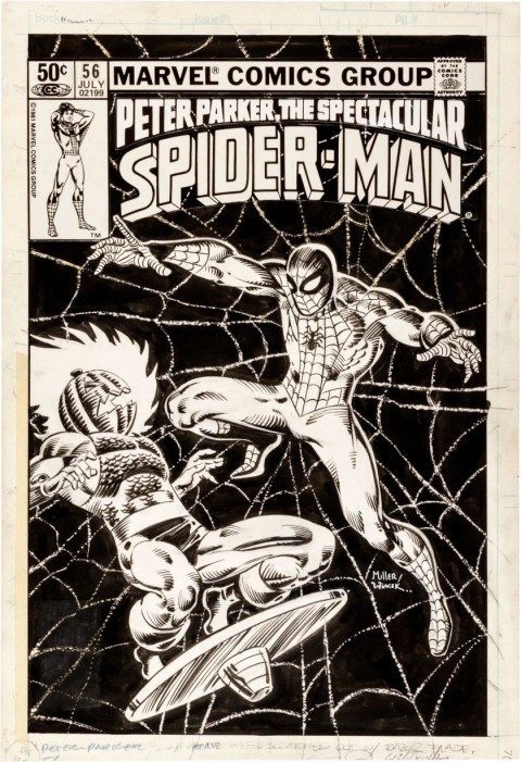 Spectacular Spider-Man issue 56 cover by Frank Miller and Bob Wiacek.  Source.