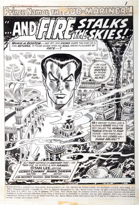 Sub-Mariner issue 45 splash by Marie Severin and Jim Mooney.  Source.