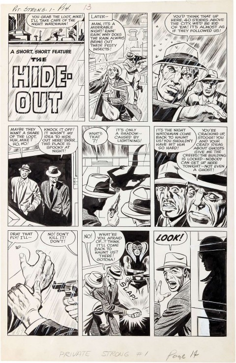 The Double Life of Private Strong issue 1 The Hideout page 1 by Jack Kirby and Joe Simon.  Source.