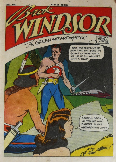 Splash for the only colour Brok Windsor story in Better Comics Vol. 7 No. 4