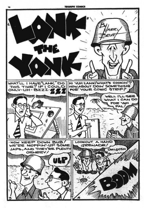 "Harry Brunt draws himself into the ""Lank"" strip in Triumph No. 22"