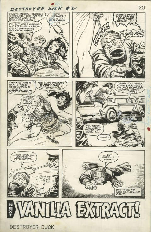 Destroyer Duck issue 2 page 20 by Jack Kirby and Alfredo Alcala.  Source.