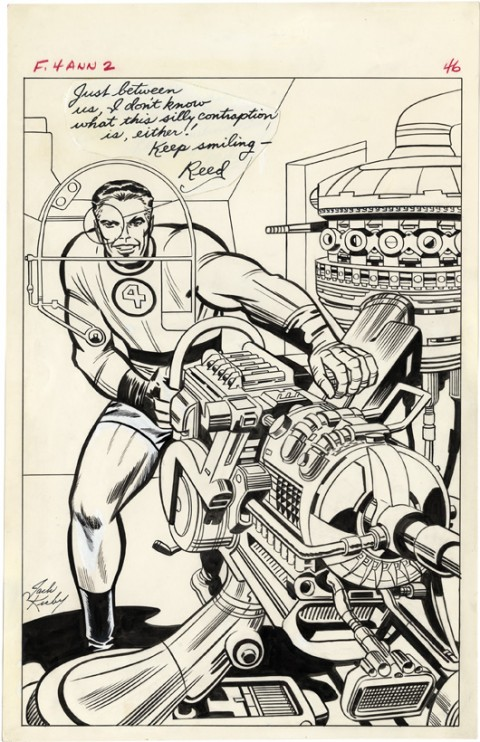 Fantastic Four Annual issue 2 Mister Fantastic Pin-Up by Jack Kirby and Chic Stone.  Source.