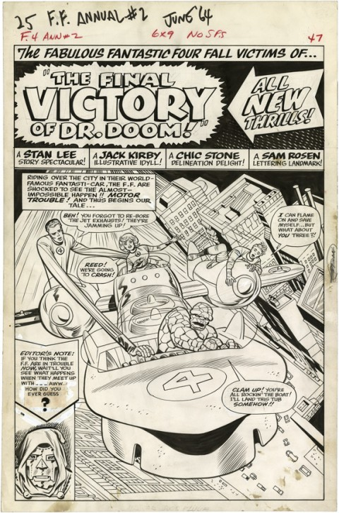 Fantastic Four Annual issue 2 splash by Jack Kirby and Chic Stone.  Source.