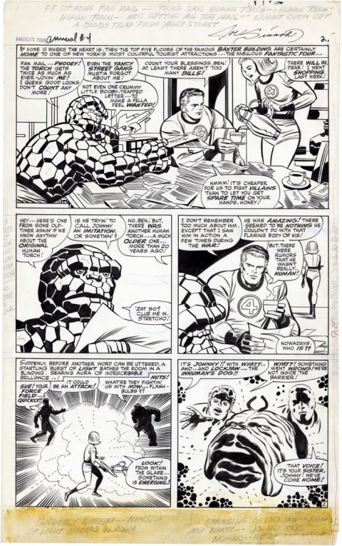 Fantastic Four Annual issue 4 page 2 by Jack Kirby and Joe Sinnott.  Source.