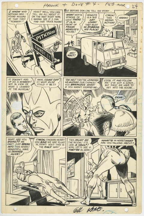 Hawk And The Dove issue 4 page 20 by Gil Kane and Sal Trapani.  Source.