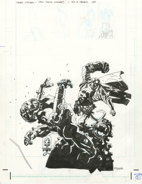 Hellboy lunchbox art by Mike Mignola.  Source.