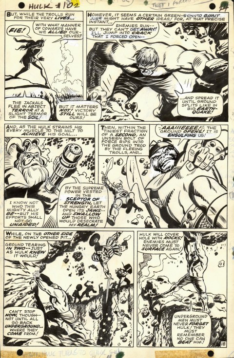 Incredible Hulk issue 102 page 18 by Marie Severin and George Tuska and Syd Shores.  Source.