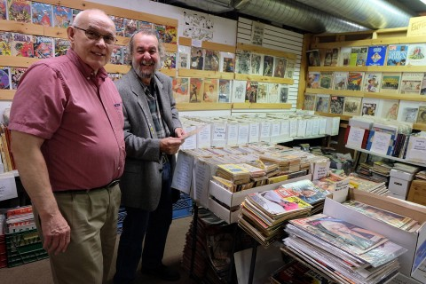 John Biernat and Mel Taylor at John's stalls in St. Jacobs