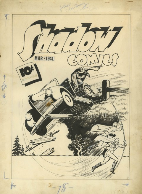 Shadow Comics issue 9 cover by Vernon Greene.  Source.