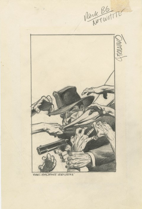Shadow: The Silent Seven preliminary cover by Jim Steranko.  Source.