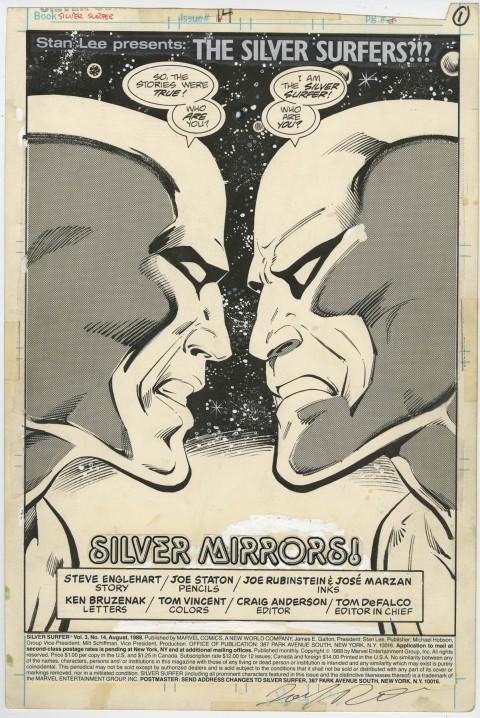 Silver Surfer issue 14 splash by Joe Staton and Joe Rubinstein.  Source.
