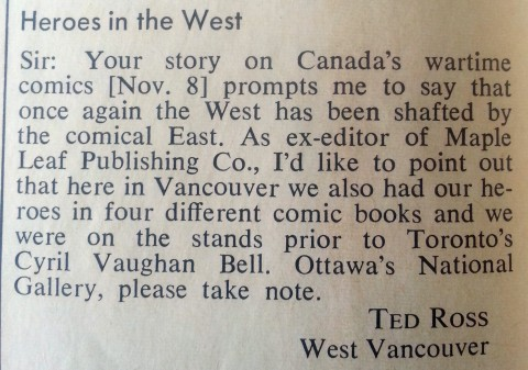 Tedd Ross letter to Maclean's Nov. 1971