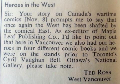 Tedd Ross letter to Maclean's Nov. 1971