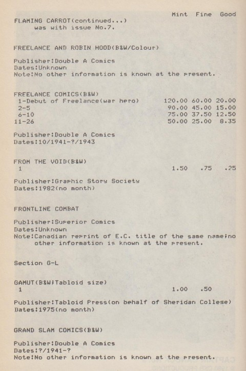 Section from Theaker's pricing effort.