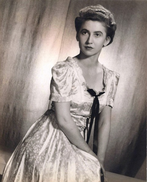 Doris Slater, probably in the late 1930s, in a dress that she made herself.