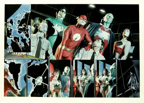 JLA: Liberty and Justice pages 12 and 13 by Alex Ross.  Source.