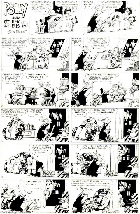 Polly and Her Pals Sunday  9-12-43 by Cliff Sterrett.  Source.
