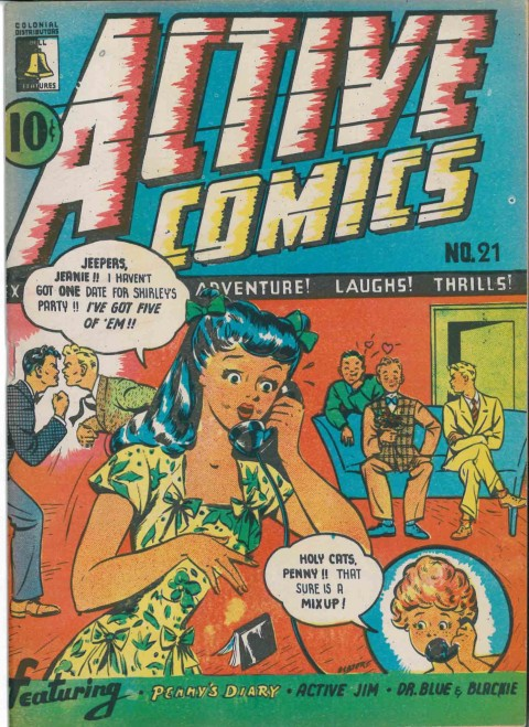 Doris Slater's cover for Active Comics No. 21, the only Bell Features cover drawn by a woman.