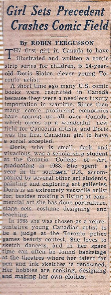 An unsourced newspaper article from 1941 that talks about Doris Slater as the first woman in Canadian comics.