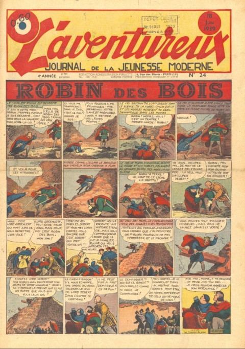 Cover of L'Aventureux V. 4 n. 24, June 18 1939