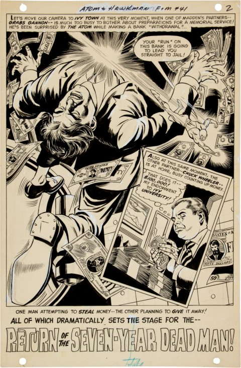 Atom and Hawkman issue 41 page 2 by Dick Dillin and Sid Greene.  Source.