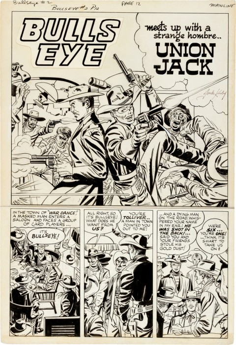 Bulls Eye issue 2 page 1 by Jack Kirby and Bob McCarty.  Source.