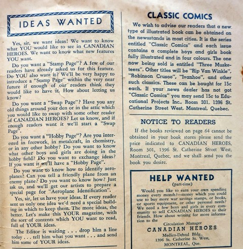 Inside back cover from Canadian Heroes Vol. 1 No. 3 with the mention of Classics Comics.
