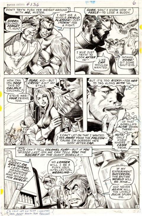 Captain America issue 136 page 5 by Gene Colan and Bill Everett.  Source.