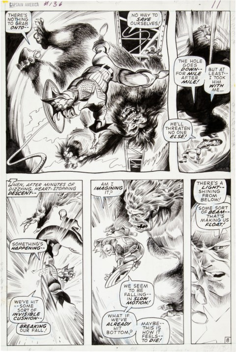 Captain America issue 136 page 8 by Gene Colan and Bill Everett.  Source.
