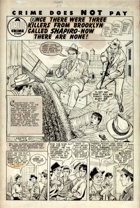 Crime Does Not Pay issue 67 splash by George Tuska.  Source.