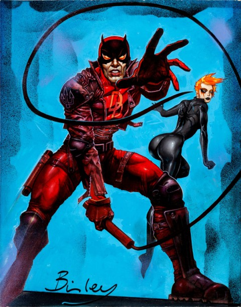 Daredevil & Black Widow by Simon Bisley.  Source.