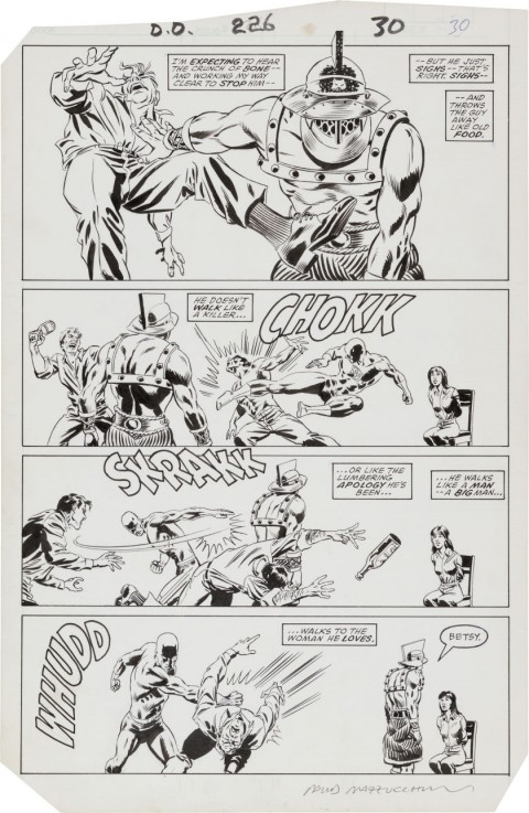 Daredevil issue 226 page 30 by David Mazzucchelli and Dennis Janke.  Source.