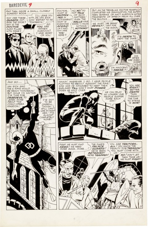 Daredevil issue 9 page 7 by Wally Wood and Bob Powell.  Source.