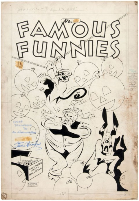 Famous Funnies issue 135 cover by Stephen Douglas.  Source.