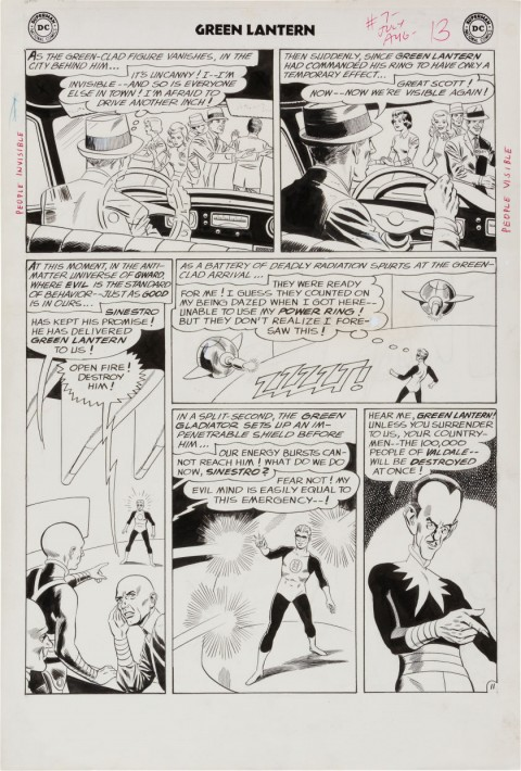 Green Lantern issue 7 page 11 by Gil Kane and Joe Giella.  Source.