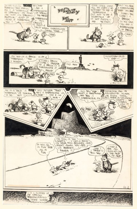 Krazy Kat Sunday 10-3-43 by George Herriman.  Source.