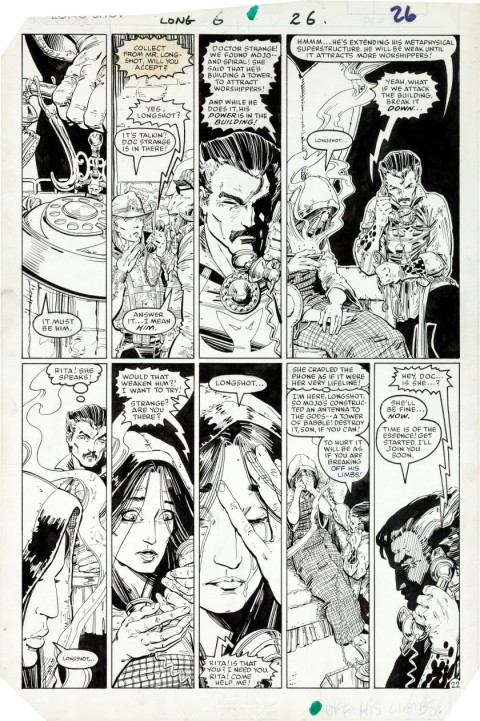 Longshot issue 6 page 22 by Arthur Adams and Whilce Portacio.  Source.
