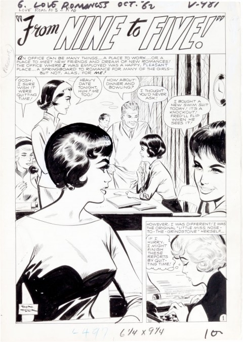 Love Romances issue 103 page 1 by Don Heck.  Source.