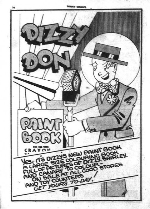 Ad for Dizzy Don Paint Book from The Funny Comics No. 19