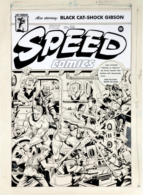 Speed Comics issue 33 cover by Alex Schomburg.  Source.