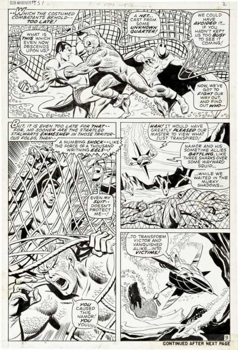 Sub-Mariner issue 31 page 9 by Sal Buscema and Mike Esposito.  Source.