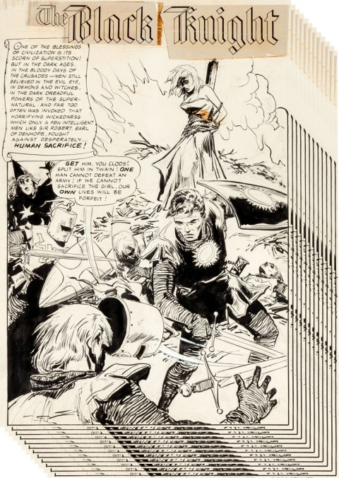 The Black Knight issue 1 splash by Ernie Schroeder.  Source.