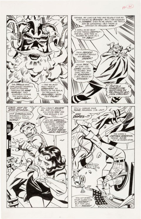 Thor Godstorm issue 1 page 21 by Steve Rude and Mike Royer.  Source.